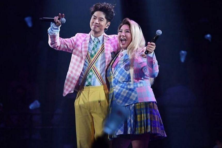 Hong Kong actress-singer Joyce Cheng with Hong Kong singer Alfred Hui at his concert in March last year.