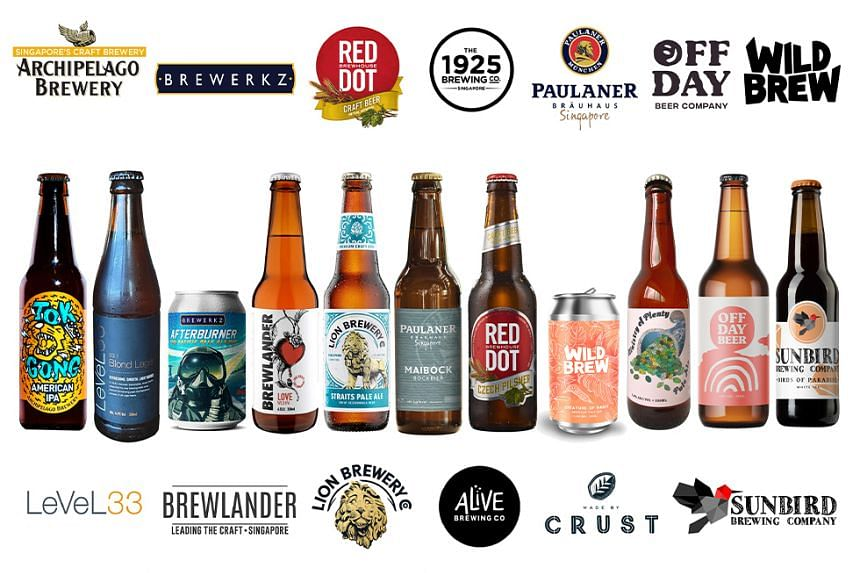 Beer styles like lagers, ales and India pale ales are offered by 15 participating breweries in the #SGCraftTogether initiative.