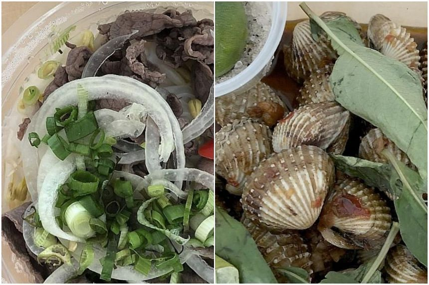 Wagyu pho (left) and cockles from Mrs Pho.