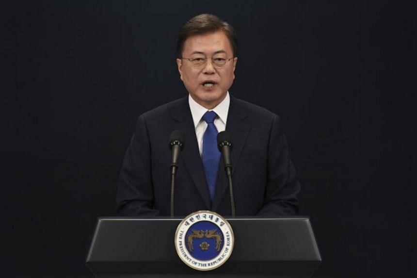 South Korean President Moon Jae-in speaks at the presidential Blue House in Seoul on May 10, 2020.