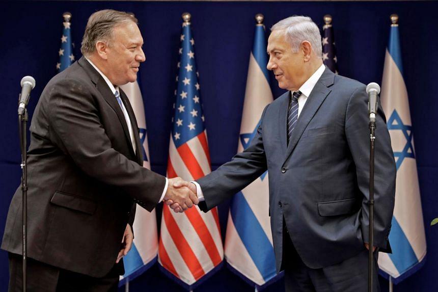 US Secretary of State Mike Pompeo (left) and Israeli Prime Minister Benjamin Netanyahu meet in Jerusalem on Oct 18, 2019.