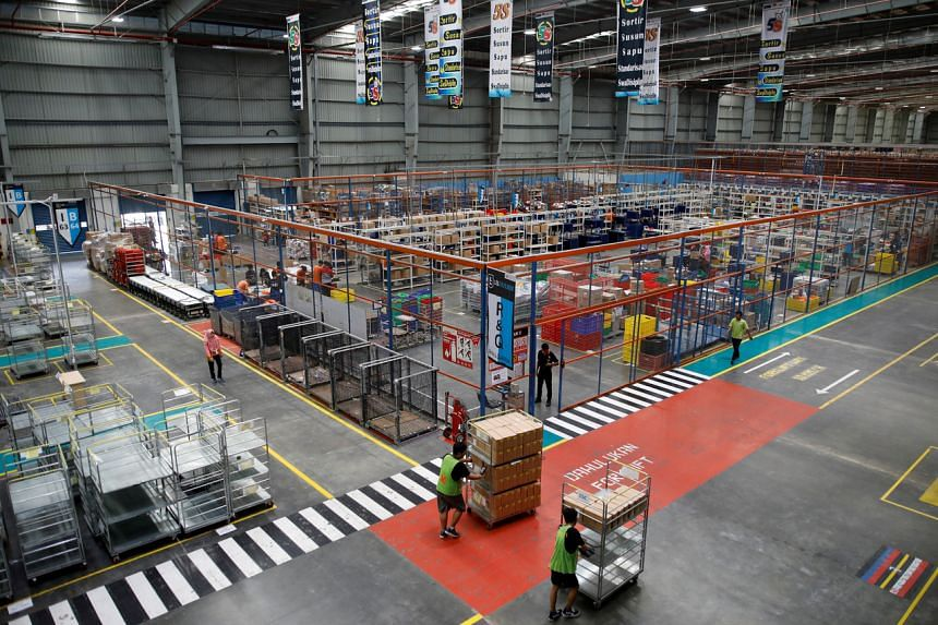Part of online retailer Lazada's warehouse in Depok, Indonesia, on March 26, 2018.