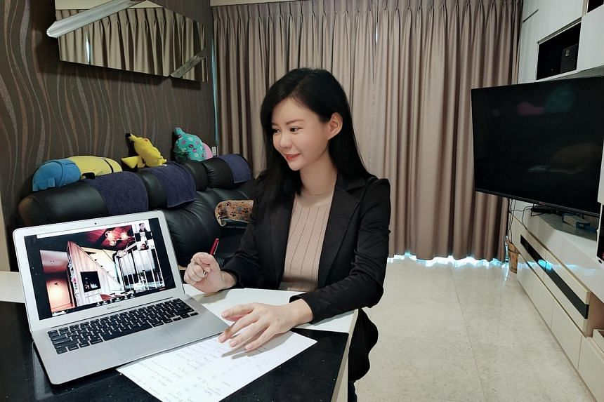 Huttons Asia property agent Charlyene Choo conducting a virtual viewing of a condo unit.