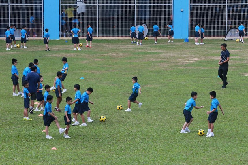 Rivervale Primary School pupils playing football, one of the school's most popular co-curricular activities, on Feb 28, 2020.
