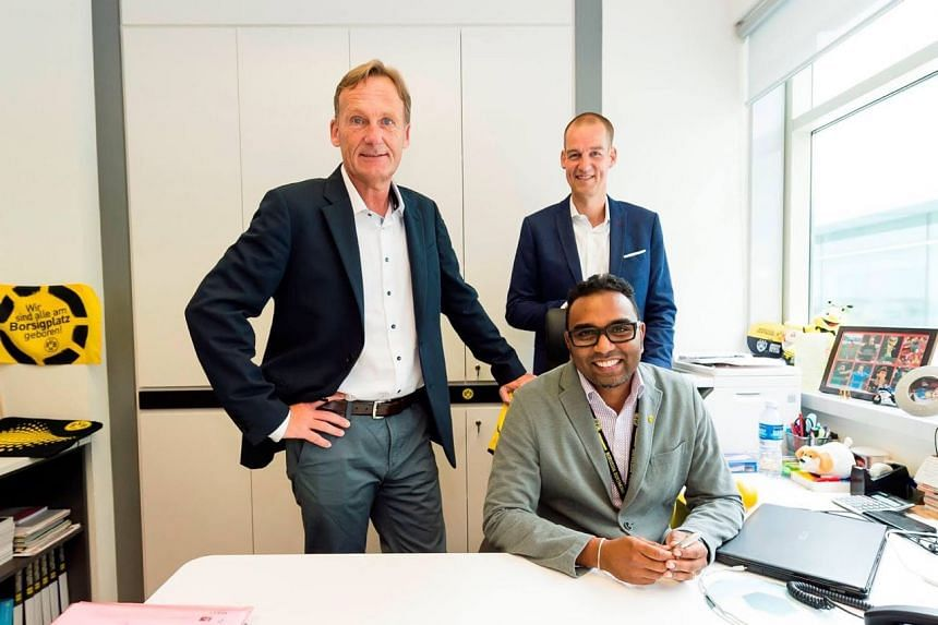 Clockwise, from left: Borussia Dortmund CEO Hans-Joachim Watzke, managing director Carsten Cramer, and BVB Asia Pacific managing director Suresh Letchmanan
