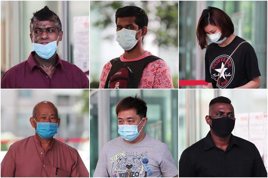 (Clockwise from top left) Vijayan Pillay Sandarasegaran, Arvinish N. Ramakrishnan, Cheng Fengzhao, Kumaran Roy Rajendran, Wong Teck Chye and Tan Han Yong were charged in court on May 15, 2020.