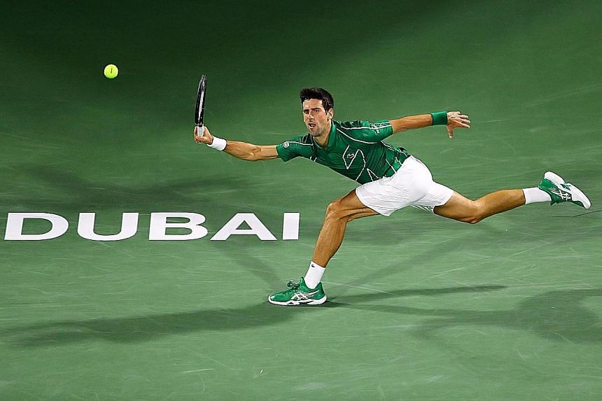Novak Djokovic (in action at the Dubai Championships in February) was in imperious form before the coronavirus pandemic stopped the circuit in March. His fifth Dubai success extended his unbeaten run to 21 matches.