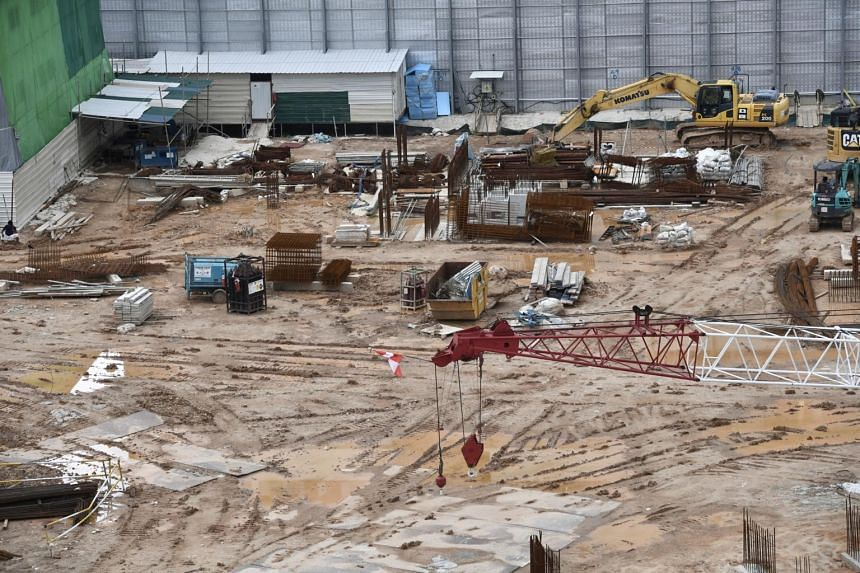 An idle construction site is seen at the junction of Serangoon Road and Towner Road on April 23, 2020.