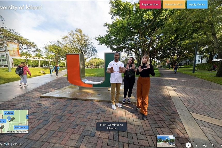 A screenshot from a virtual tour of the University of Miami on the YouVisit website. YouVisit is one of many sites that offer virtual tours of college campuses. These platforms are growing in popularity amid the coronavirus crisis.