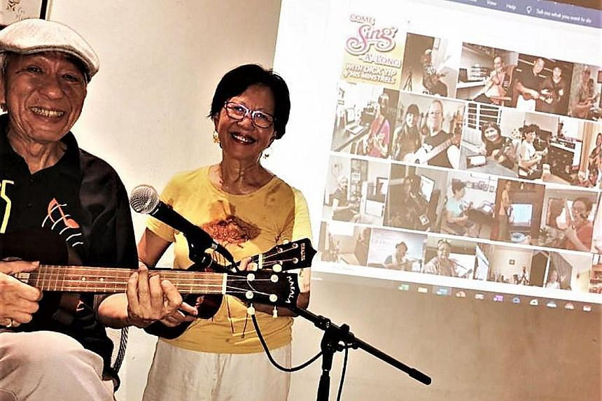 Retired physical education teacher Dick Yip (seen here with his wife Daisie) now jams with his ukulele group, Dick Yip & his Minstrels, online using Facebook livestreaming.