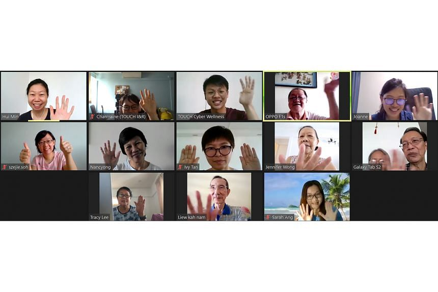Retired taxi driver Chew Po Ngee (top row, second from right) having his first Zoom meet-up with fellow seniors, cyber wellness coaches and staff from Touch Community Services, which organised this video conference. Taking part in a digital readiness prog