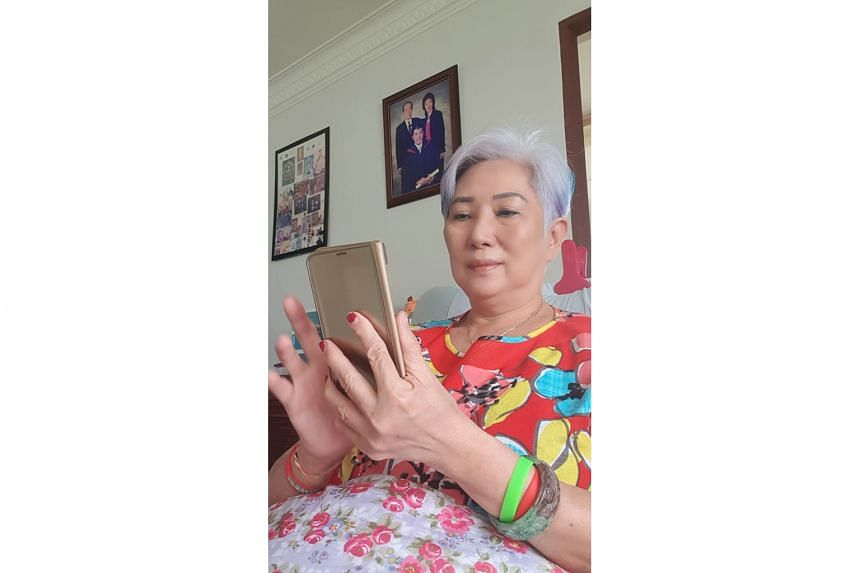 Retired taxi driver Susan Lee has learnt to use Zoom and Houseparty since the circuit breaker started.