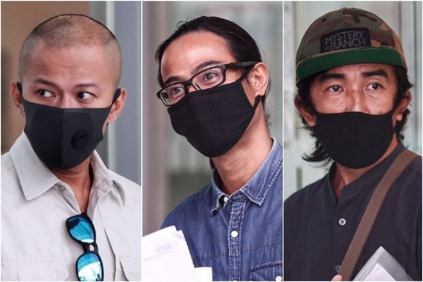 (From left) Rizani Sham Mohamed Hussin, Mohamed Hafiz Mat Nadar and Zulman B. Mashonain each faces two charges under the Covid-19 (Temporary Measures) Act.