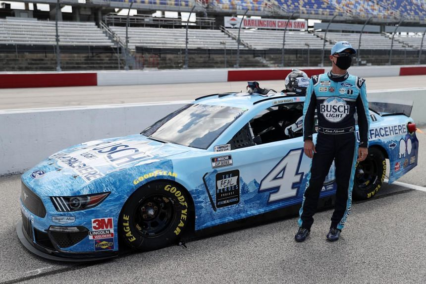 Kevin Harvick stands on pit road at Darlington Raceway on May 17, 2020.