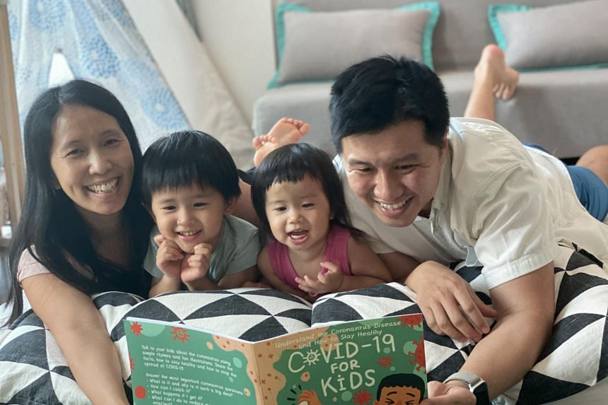 "Covid-19 For Kids, is a ""family effort"" led by Mr Elvin Too, 40, and his wife Catherine Cheung, 39."