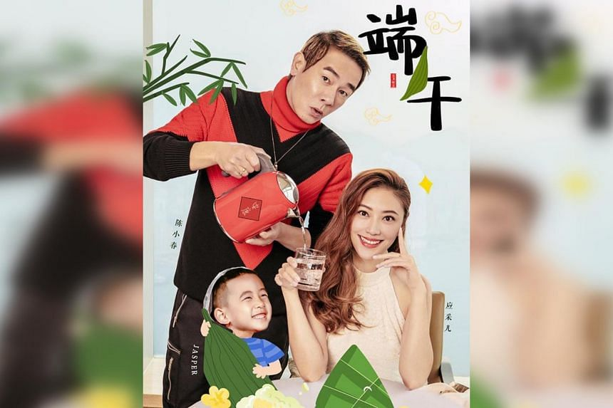 Hong Kong actress Cherrie Ying (bottom right) with her husband, singer-actor Jordan Chan, and their son Jasper.