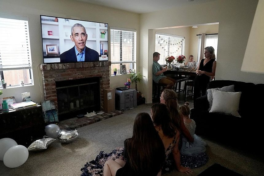 Former US president Barack Obama delivering his virtual commencement address to millions of high school seniors last Saturday. PHOTO: REUTERS