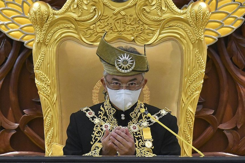 Malaysian Prime Minister Muhyiddin Yassin (bottom right) and other MPs at yesterday's parliamentary session in Kuala Lumpur. Only the King's speech was scheduled for the sitting, leaving no chance for the MPs to discuss the confidence vote against Ta