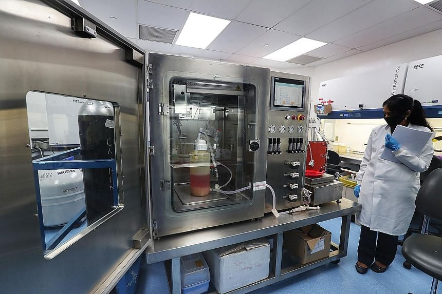Left: Esco Aster's senior bioprocess scientist (vaccine development) Nandini Prabhakar beside the bioreactor that is used to culture the vaccine which the home-grown firm is working on with a US biotech company. ST PHOTO: KELVIN CHNG