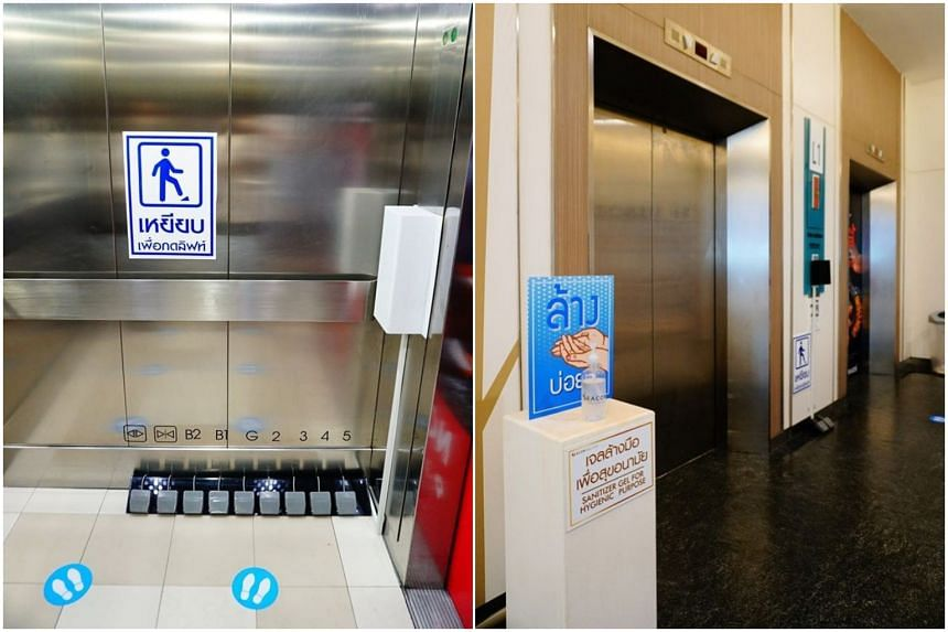 Seacon Square shopping mall has installed foot-operated control panels in lifts and hand gel dispensers in front of lifts and escalators.