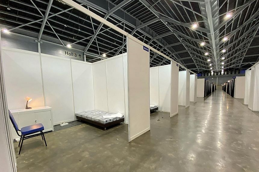 Surbana Jurong said it was no mean feat for its team of 50 healthcare planners, architects, engineers, project managers and procurement staff to set up 10 halls with 8,000 beds at the Singapore Expo (above) in four weeks.