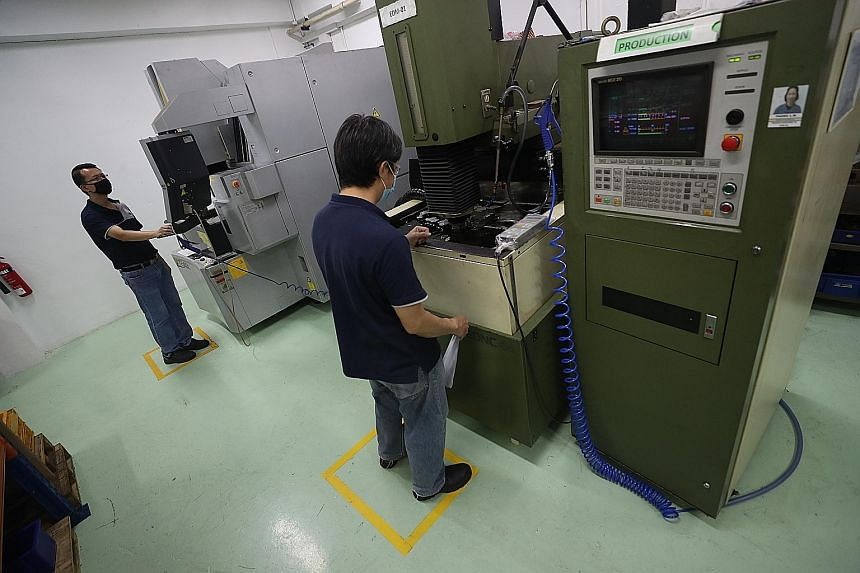 Safe distancing measures in place at Shine Precision Engineering. Staggered work hours, a ban on interactions among workers from different teams and ensuring a requisite level of hygiene and cleanliness are among other measures that companies need to