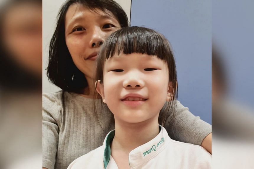 Ms Evelyn Chua (top) says her daughter Yixuan is her motivation to beat cancer.