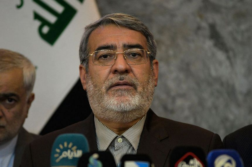 Iranian Interior Minister Abdolreza Rahmani Fazli speaks at a press conference in Najaf, Iraq, on Sept 29, 2019.