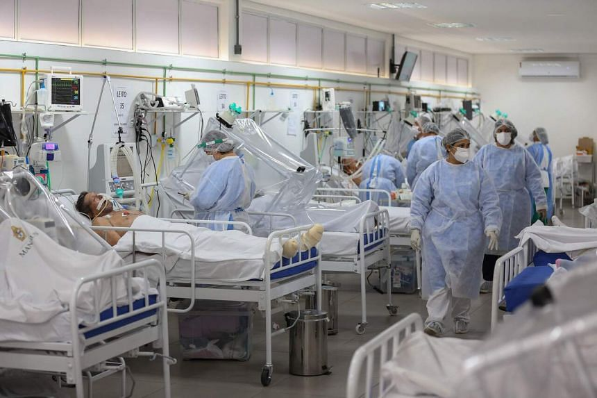 Healthcare workers and patients at the Intensive Care Unit for Covid-19 patients at a hospital in Manaus, Brazil, on May 20, 2020.