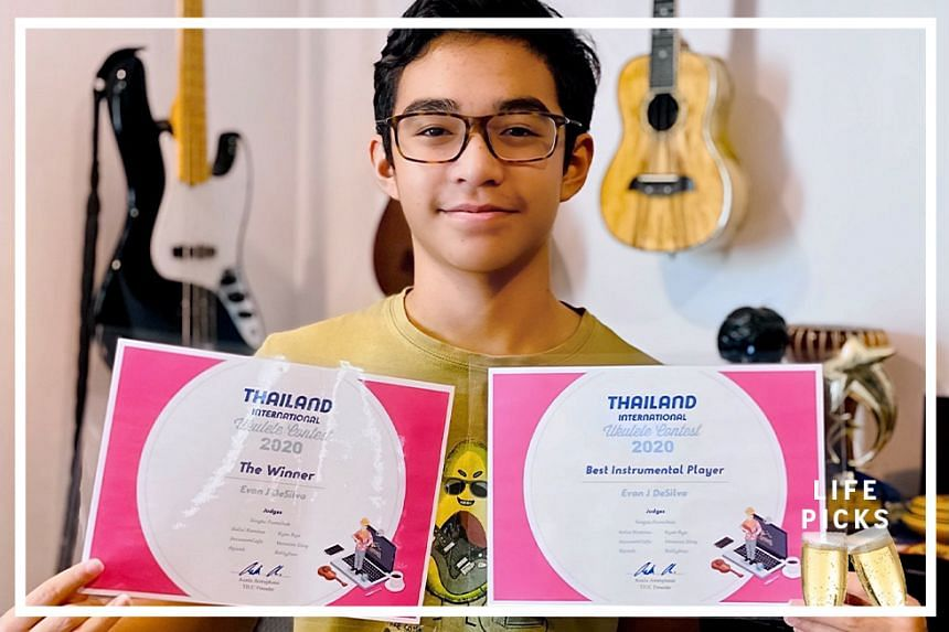 Evan De Silva, a 15-year-old student at School of the Arts Singapore, who won the 8th Thailand International Ukulele Contest 2020, where he was judged the overall winner and also, the best instrumental player.
