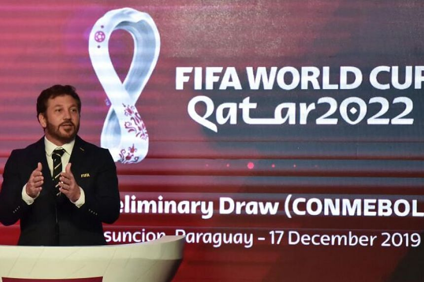 President of the South American Football Confederation Alejandro Dominguez delivers a speech during the preliminary draw for Qatar 2022 Fifa World Cup in Luque, Paraguay.