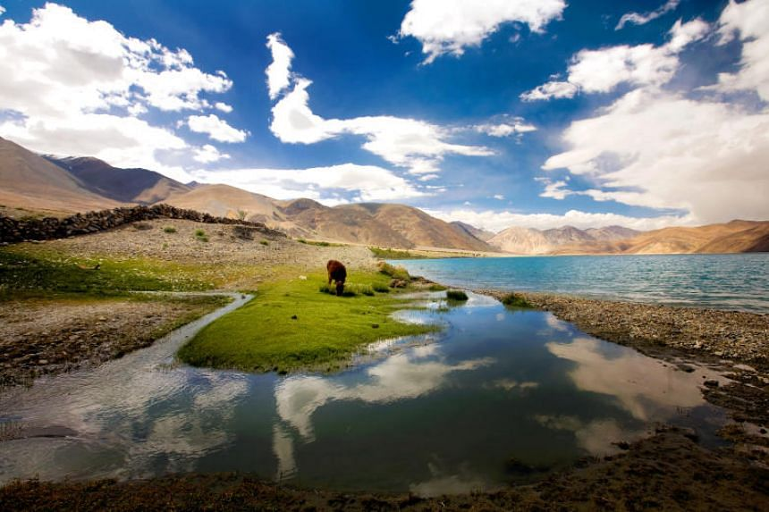 Both India and China have claimed portions of the disputed glacial lake Pangong Tso.