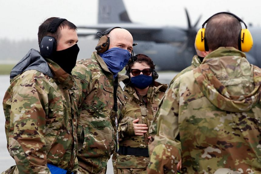 US soldiers are seen during a military drill amid the coronavirus disease outbreak in Japan, May 21, 2020.