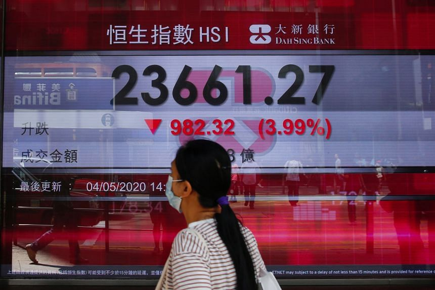 A panel displays the Hang Seng Index during afternoon trading, in Hong Kong on May 4, 2020.
