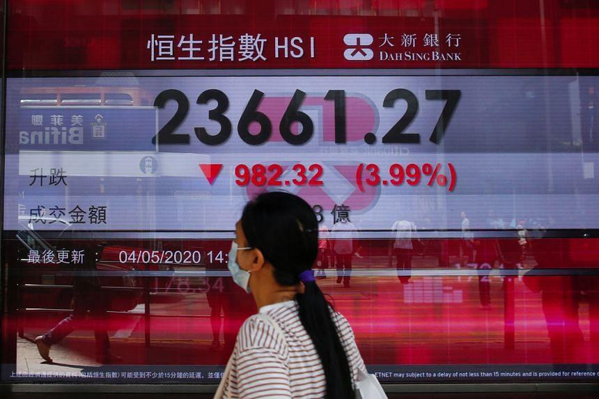 A panel displays the Hang Seng Index during afternoon trading, in Hong Kong on May 4, 2020.