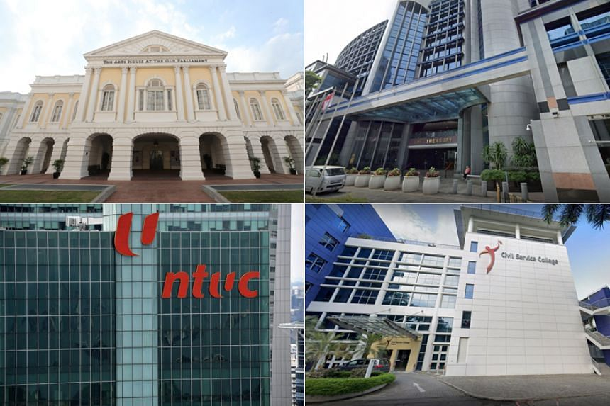 The four locations are the (clockwise from top left) Arts House, The Treasury, Civil Service College, and NTUC Centre.