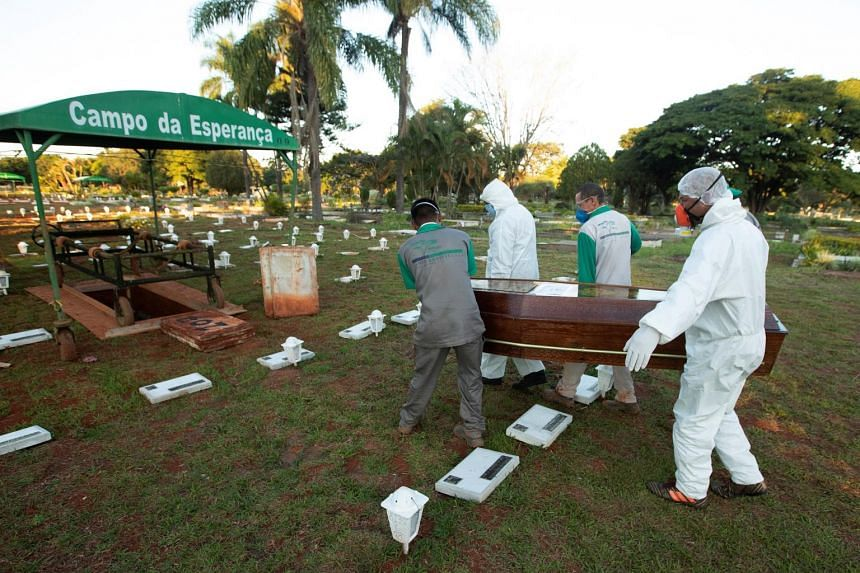 Campo de Esperanza cemetery workers bury a person who died from Covid-19 in Brasilia, Brazil, on May 21, 2020.