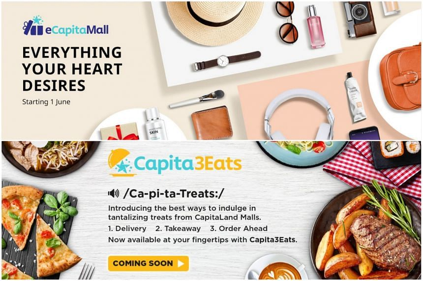 Digital mall eCapitaMall will feature the merchandise of retailers while with Capita3Eats, customers will be able to opt for delivery, takeaway or dine-in.