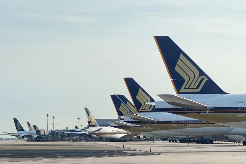 More than 100 planes belonging to the Singapore Airlines Group parked at Changi Airport.