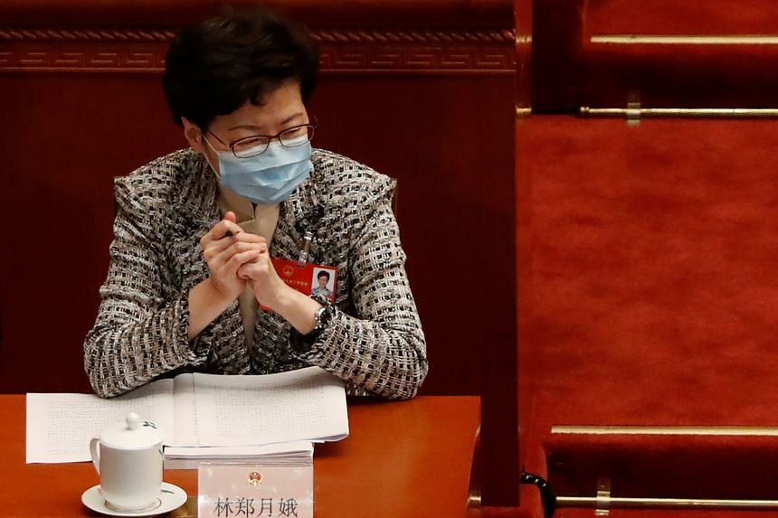 Hong Kong chief executive Carrie Lam during the opening session of the National People's Congress in Beijing on May 22, 2020.