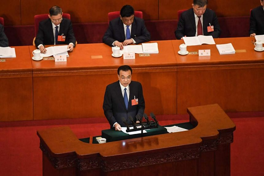 Chinese Premier Li Keqiang during the opening session of the National People's Congress in Beijing on May 22, 2020.