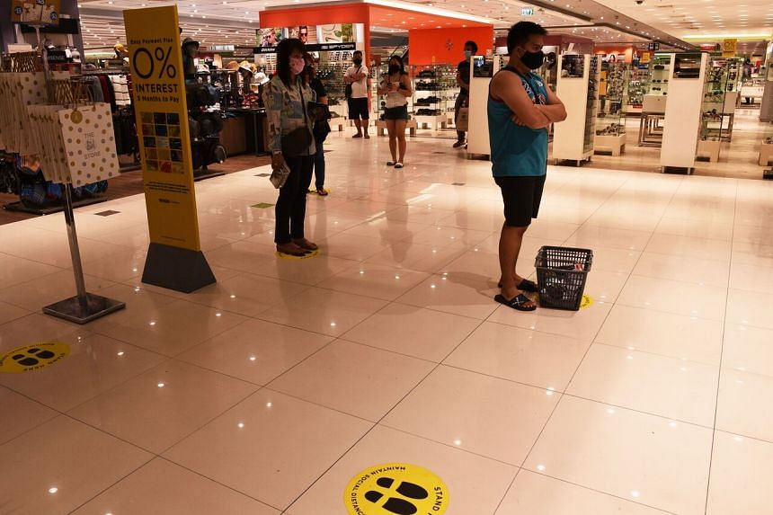 All mall goers have to be issued time cards to limit their stay to just an hour.