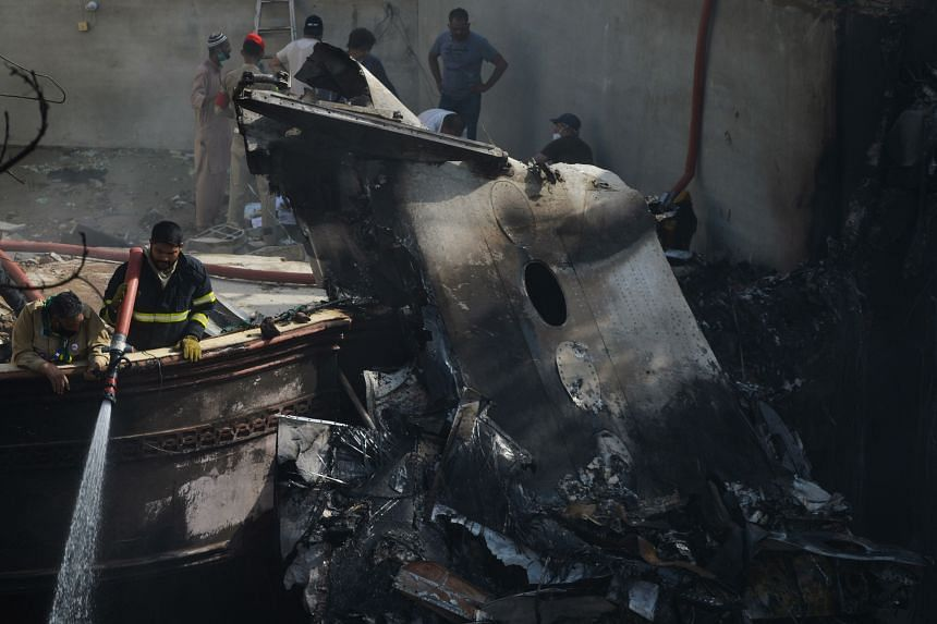 The Pakistan International Airlines plane crashed near a residential area.