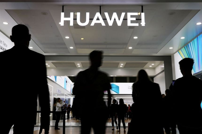 The Huawei logo is pictured at the IFA consumer tech fair in Berlin, Germany.