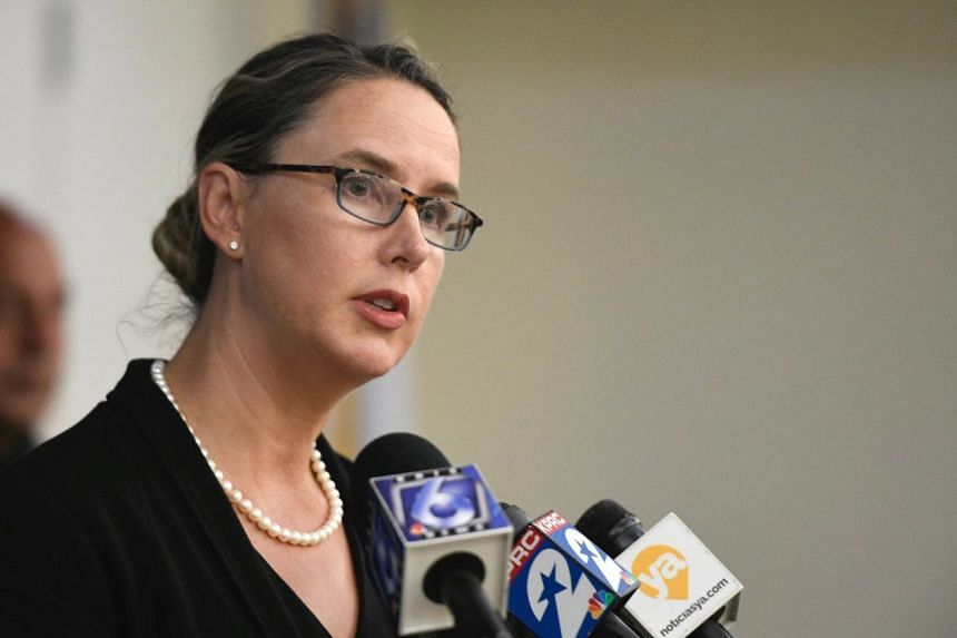 The FBI's Leah Greeves speaks to the news media on May 21, 2020.