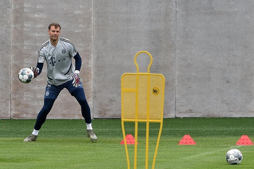 Bayern's German goalkeeper Manuel Neuer at training on Wednesday, the day he extended his club contract until 2023.