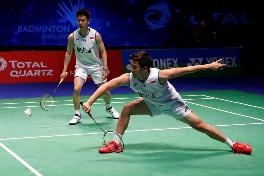 Indonesia's Marcus Fernaldi Gideon and Kevin Sanjaya Sukamuljo during a match in Birmingham, on March 15, 2020.