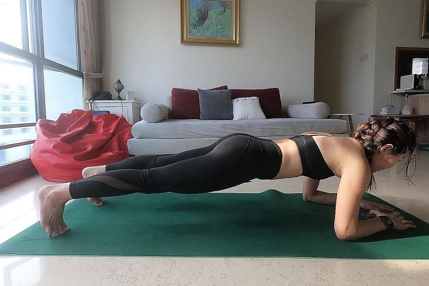 Ms Cherie Sim (above) launched a challenge on her Instagram page to hold a 10-minute plank, while Dr William Wan posted a video earlier this month of himself doing push-ups to encourage people to keep fit during the circuit breaker.