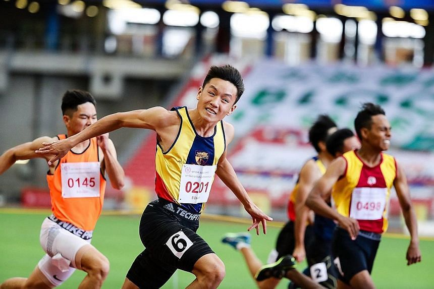 Sprinter Mark Lee was aiming to win four golds at this year's Schools National Track and Field Championships - but he will not get his chance. PHOTO: COURTESY OF MARK LEE