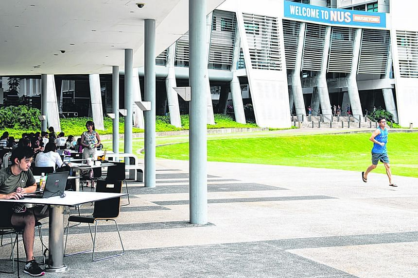 A photo taken in 2018 at the National University of Singapore. Students who are on campus when the university's new academic year starts on Aug 10 will not be able to mingle freely in the way that they used to.